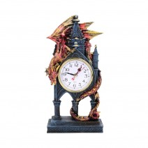 Red Dragon Gothic Fantasy Time Guardian Clock