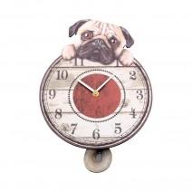 Puggin' Tickin' Dog Pendulum Clock