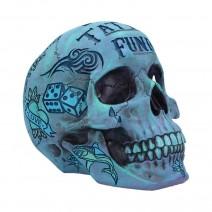Aqua Blue Coloured Traditional, Tribal Tattoo Fund Skull