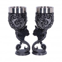 Familiars Love Twin Cat Heart Set of Two Goblets