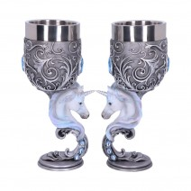 Enchanted Hearts Twin Unicorn Heart Set of Two Goblets
