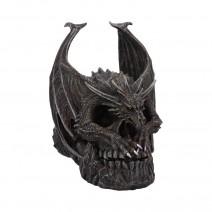 Spiral Dark Gothic Draco Skull Dragon Figurine