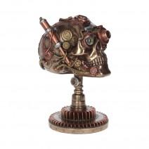 Steampunk Bionic Ocular Receiver Bronze Skull Figurine