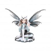 Fae-Lore Winter Fairy Wearing Wolf Hide 30cm