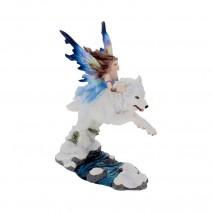 Free Spirit Figurine Fairy and White Winter Wolf Ornament