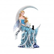 Nene Thomas Wind Moon Blue Crescent Moon Fairy and Cat Companion Figurine