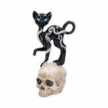 Feline Fate Light Up Skull with Black Cat Figurine