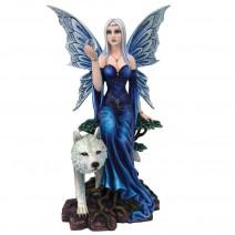Talanoa Blue Fairy and White Wolf Companion Figurine