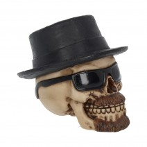 Small Badass Hat and Sunglasses Skull Figurine