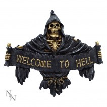 Welcome To Hell Skeleton Grim Reaper Hanging Sign