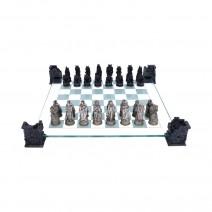 Raised Fantasy Vampire & Werewolf Chess Set With Corner Towers 43cm