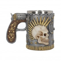 Russian Roulette Tankard With Bullet Mowhaked Skull 18cm