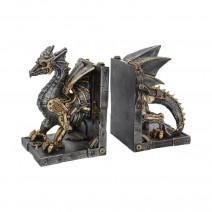 Dracus Machina Steampunk Dragon Bookends
