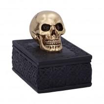 Celtic Opulence Golden Skull Black Trinket Box