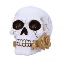 Floral Fate Golden Rose Skull Ornament.