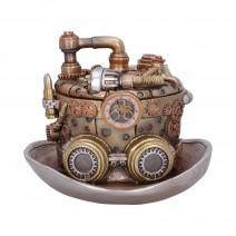 Bronze Silver Cogwork Hatter Box Steampunk Hat Storage