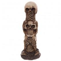 Hear No Speak No See No Evil Skull Totem Decoration