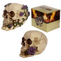 Skulls With Vine & Purple Roses