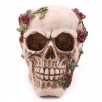 Skulls With Vine & Red Roses