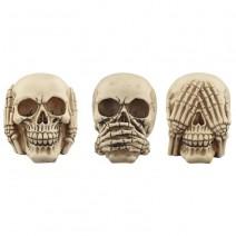Set of 3 Hear No Speak No See No Evil Skulls