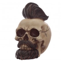 Hipster Mohican Skull Ornament with Beard and Styled Hair