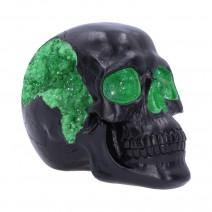Geode Skull Black Green Gothic Glitter Skull Figurine
