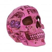 Pink Traditional Tribal Tattoo Fund Skull Money Box