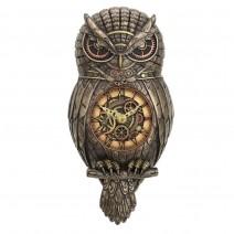 Chronology Wisdom Steampunk Owl Wall Clock