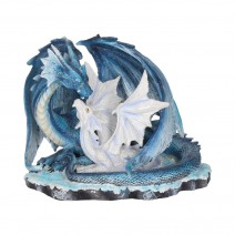 Mothers Love Blue Dragon and White Dragonling Figurine