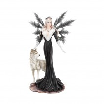 Dark Aura Fairy With Her Grey Wolf Companion 24cm