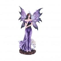 Amethyst Companions Purple Wolf and Owl Fairy Companion Figurine