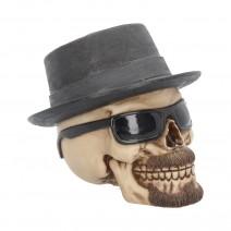 Large Badass Hat and Sunglasses Skull Figurine
