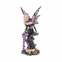 Amethyst and Hatchlings 25.5cm Purple Fairy and Baby Dragon Figurine
