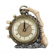 About Time Skeleton Hand and Pocket Watch Mantel Clock